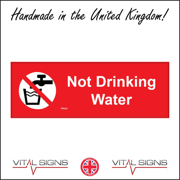 PR223 Not Drinking Water Sign with Circle Tap Glass Water