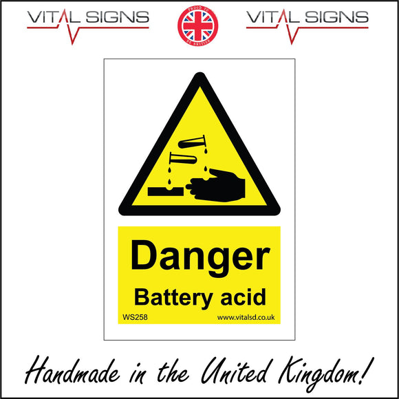 WS258 Danger Battery Acid Sign with Triangle Hands Acid Test Tube