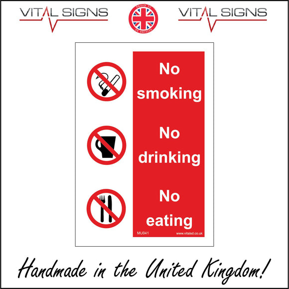 MU041 No Smoking No Eating No Drinking Sign with Circle Cigarette Mug Knife And Fork