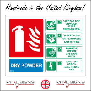 FI199 Dry Powder Fire Extinguisher Sign with Fire Extinguisher Lightning Wood Petrol Can Gas