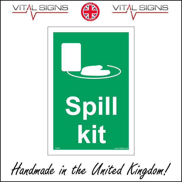 FS229 Spill Kit Sign with Cloth Tray Dustpan