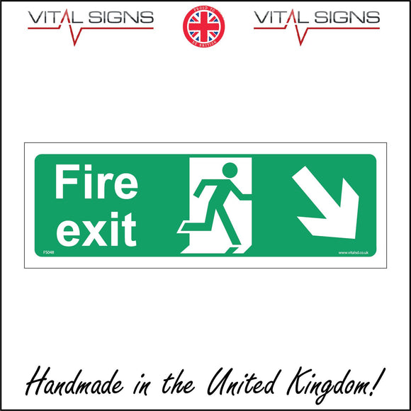 FS048 Fire Exit Right Sign with Running Man Door Arrow