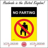 HU040 No Farting Sign with Circle Diagonal Red Line Through Man
