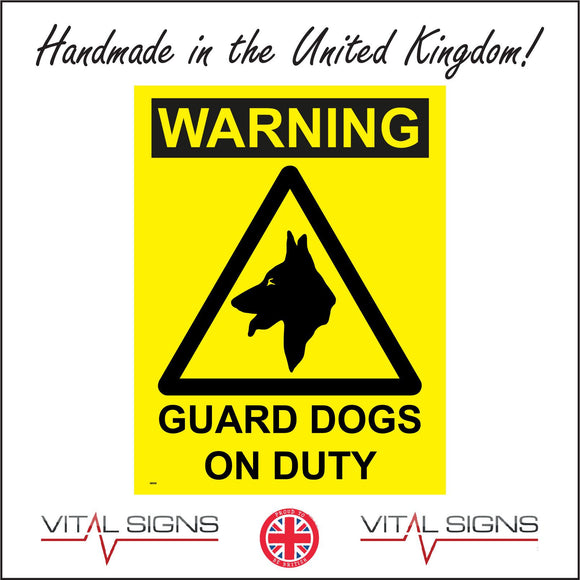 SE006 Warning Guard Dogs On Duty Sign with Triangle Dog