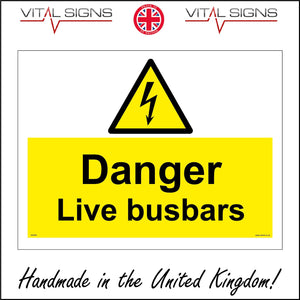 WS605 Danger Live Busbars Sign with Triangle Lightning Arrow