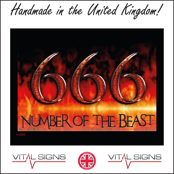 HU089 666 Number Of The Beast Sign with Fire