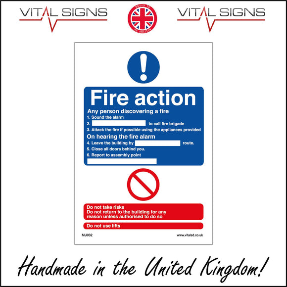 MU032 Fire Action Sign with Exclamation Mark Circle