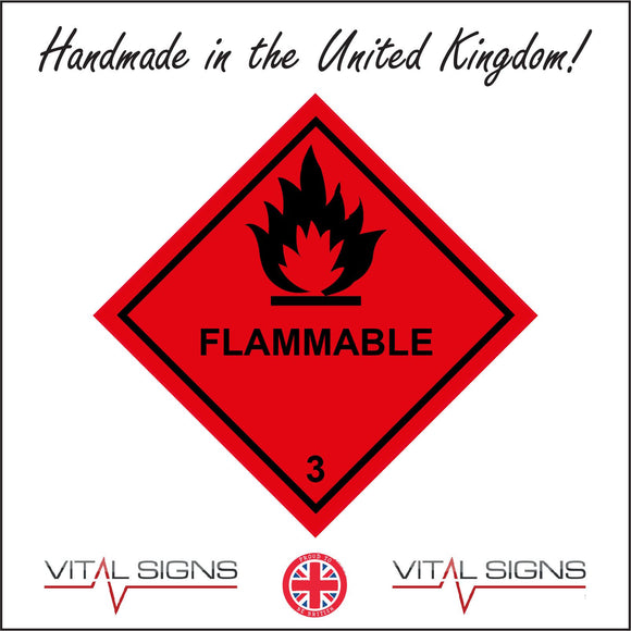 HA085 Flammable 3 Sign with Fire