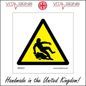WS227 Wet Floor Slippery Surface Sign with Triangle Body Falling