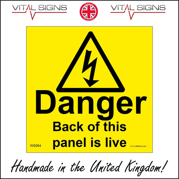 WS064 Danger Back Of This Panel Is Live Sign with Triangle Lightning Arrow