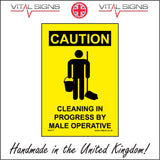 WS477 Caution Cleaning In Progress By A Male Operative Sign with Man Mop And Bucket