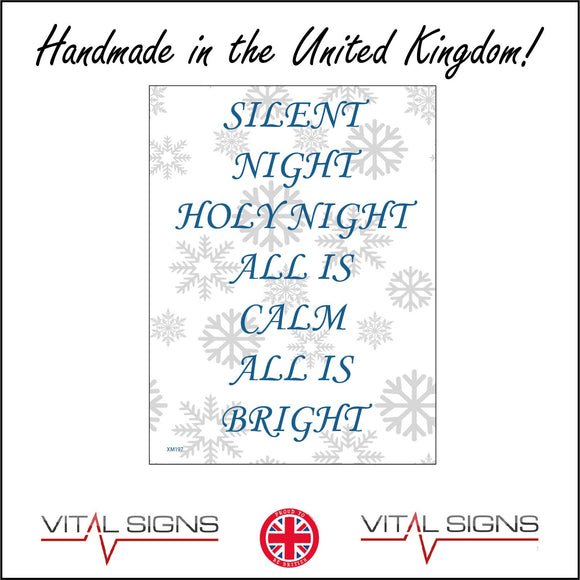 XM197 Silent Night Holy Night All Is Calm All Is Bright  Sign with Snowflakes