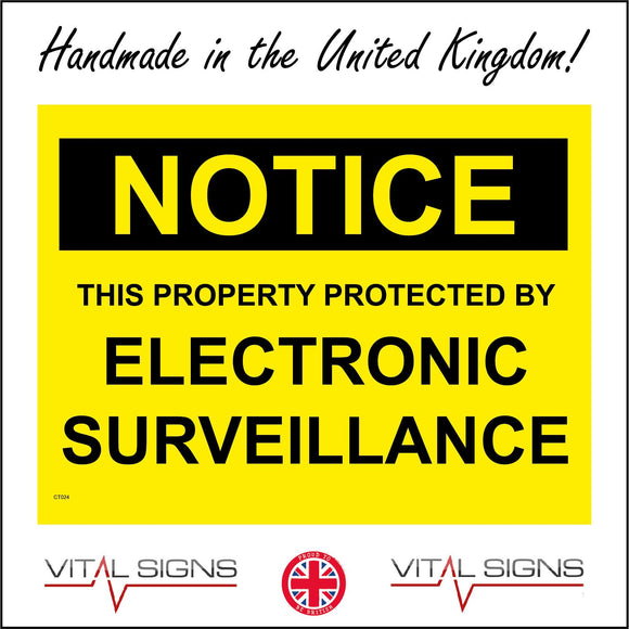 CT024 Notice This Property Protected By Electronic Surve Sign