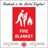 FI117 Fire Blanket Sign with Person Blanket Fire