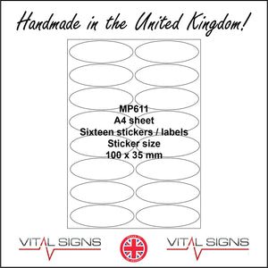 MP611 White Self Adhesive Sticky Label Sticker Custom A4 Sheet 16 Ovals Gloss