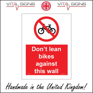 PR345 Don't Lean Bikes Against This Wall Sign with Circle Diagonal Line Bike