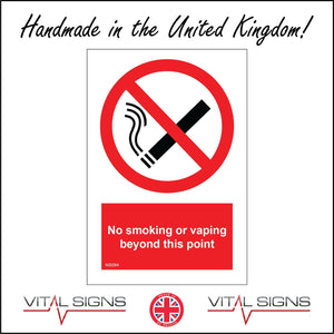 NS084 No Smoking Or Vaping Beyond This Point Sign with Circle Cigarette Diagonal Line