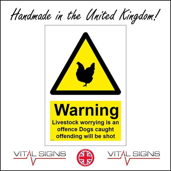 WT098 Warning Livestock Chicken Worrying Is An Offence Dogs Shot Poultry Farms