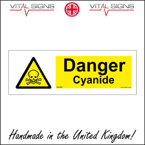 WS204 Danger Cyanide Sign with Triangle Skull &Cross Bones