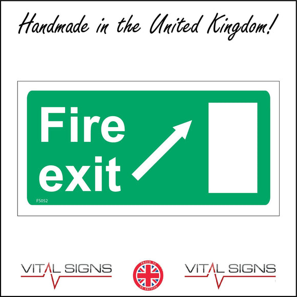 FS052 Fire Exit Right Sign with Door Arrow
