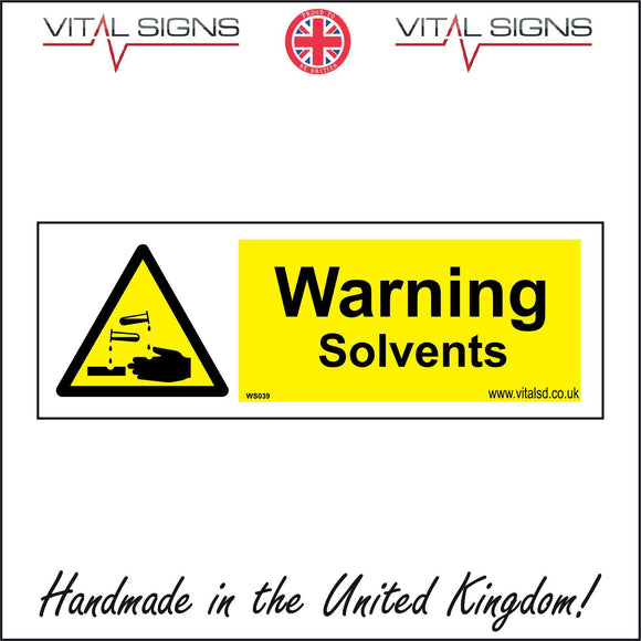 WS039 Warning Solvents Sign with Triangle Hands Acid