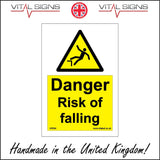 WS594 Danger Risk Of Falling Sign with Triangle Falling Person
