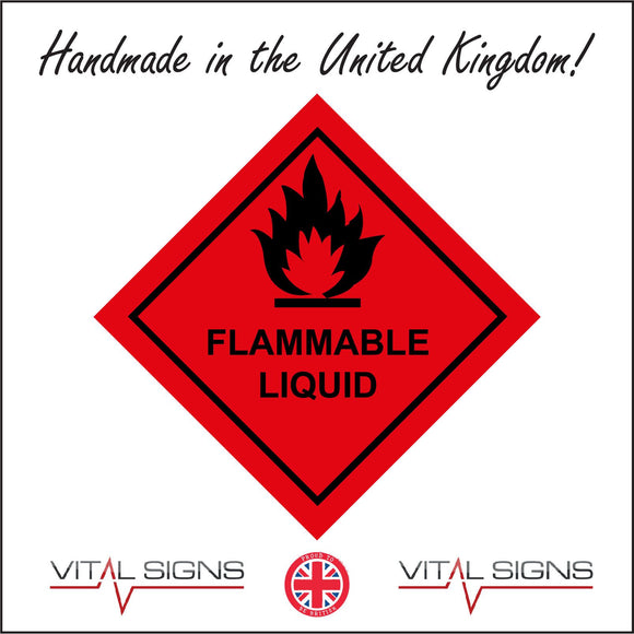 HA055 Flammable Liquid Sign with Fire