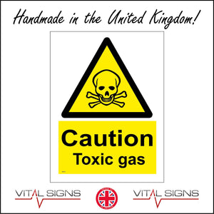 WS201 Caution Toxic Gas Sign with Triangle Skull &Cross Bones