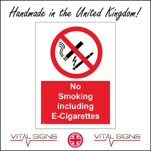 NS059 No Smoking Including E-Cigarettes Sign with Cigarette