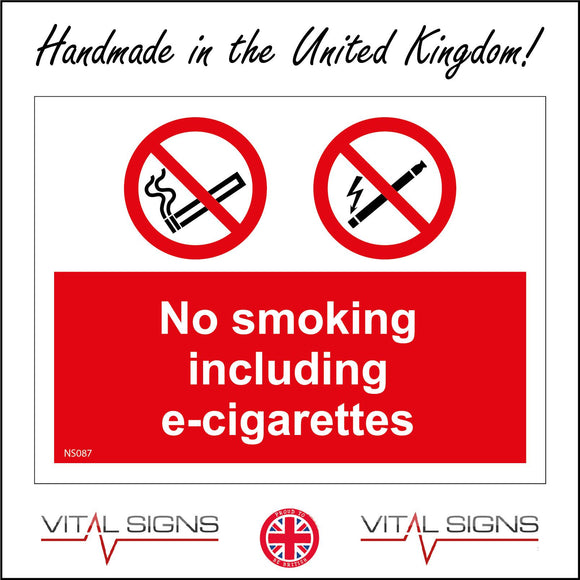 NS087 No Smoking Or Vaping Beyond This Point Sign with 2 Circles E-Cigarette & Cigarette