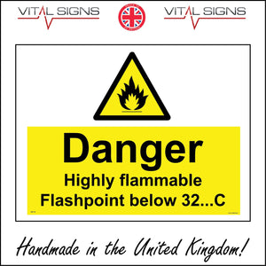 WS118 Danger Highly Flammable Flashpoint Below 32..C Sign with Triangle Fire