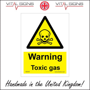 WS747 Warning Toxic Gas Sign with Triangle Skull Crossbones