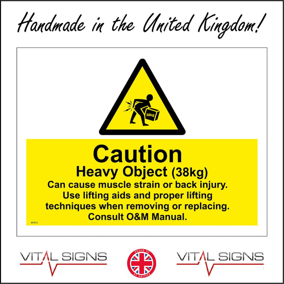 WT073 Caution Heavy Object 38kg Muscle Back Injury Lifting Aids Sign with Triangle Person Box