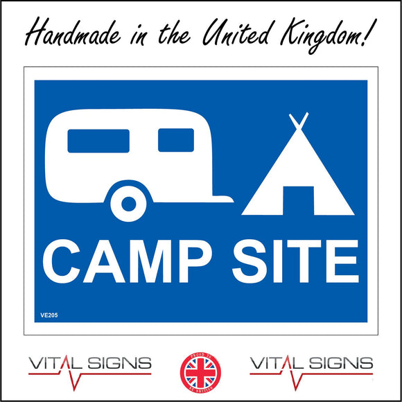 VE205 Camp Site Blue Sign with Caravan Tent
