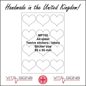 MP705 White Self Adhesive Sticky Label Sticker Custom A4 Sheet 12 Hearts Person