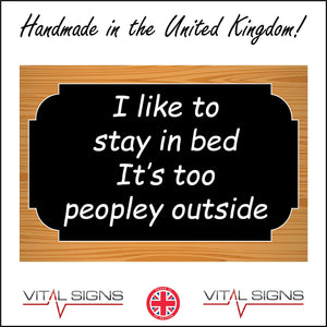 HU333 I Like To Stay In Bed To Peopley Outside Gift Present Work Fun Plaque