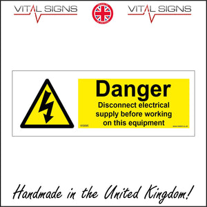WS695 Danger Disconnect Electrical Supply Before Working Equipment Sign with Triangle Voltage