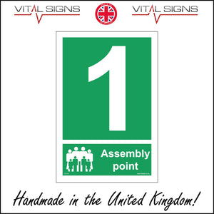FS170 Fire Assembly Point 1 Sign with People Number One