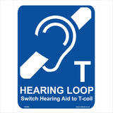 GE096 Hearing Loop Switch Hearing Aid To T-Coil Sign with Ear
