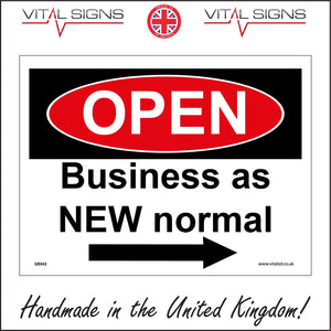 GE842 Open Business As New Normal Right Arrow Sign