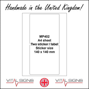 MP402 White Self Adhesive Sticky Label Sticker Custom A4 Sheet 2 Squares