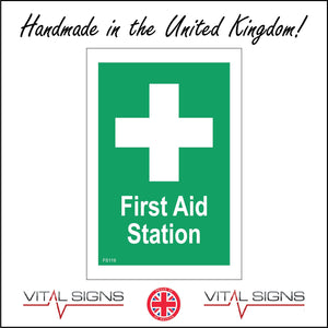 FS119 First Aid Station Sign with Cross