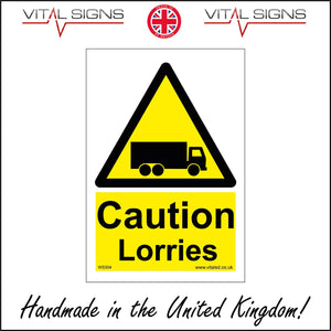 WS304 Caution Lorries Sign with Triangle Lorry