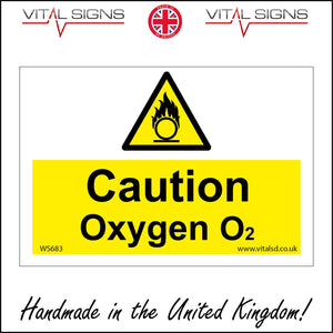 WS863 Caution Oxygen 02 Sign with Triangle Circle Flames