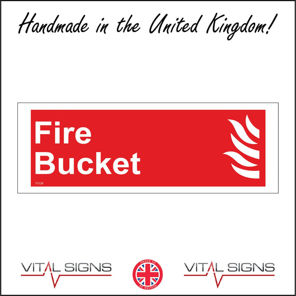 FI138 Fire Bucket Sign with Flames