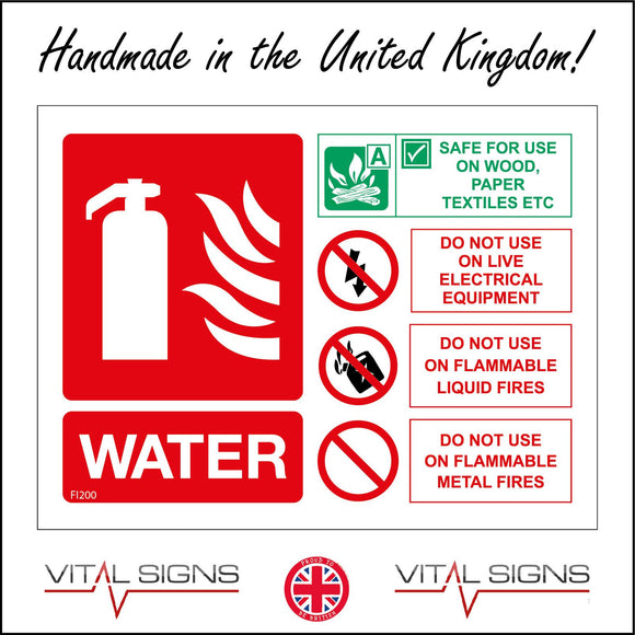 FI200 Water Fire Extinguisher Sign with Fire Extinguisher Lightning Petrol Can 3 Circles