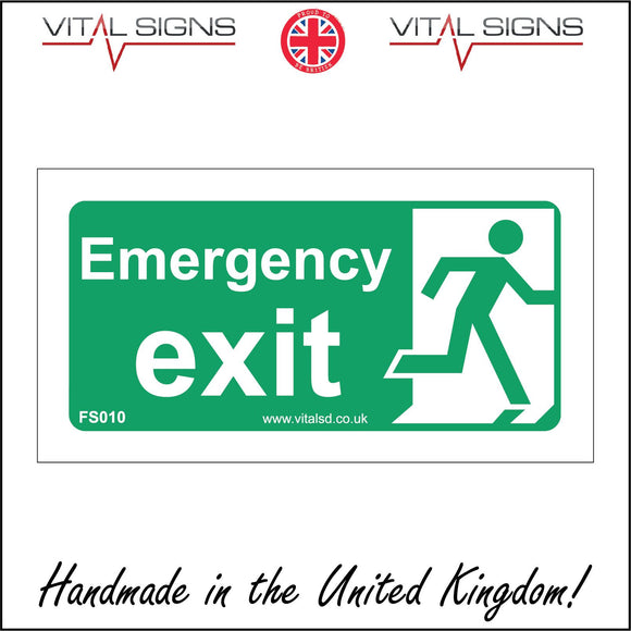 FS010 Emergency Exit Right Sign with Running Man Door Arrow