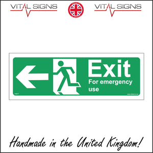 FS017 Exit For Emergency Use Left Sign with Running Man Door Arrow