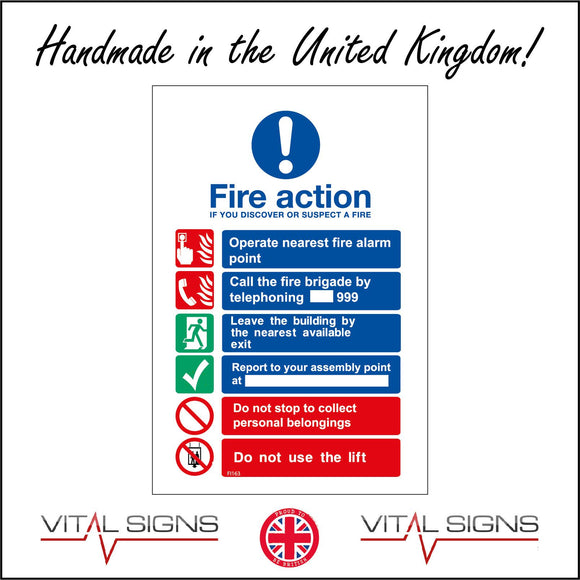 FI163 Fire Action If You Discover Or Suspect A Fire. Operate Nearest Fire Alarm Point Sign with Circle Exclamation Mark Hand Fire,People Phone