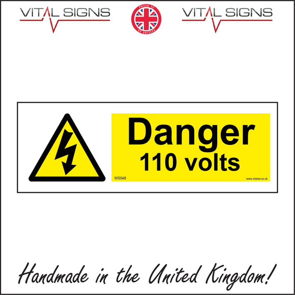 WS048 Danger 110 Volts Sign with Triangle Lightning Arrow